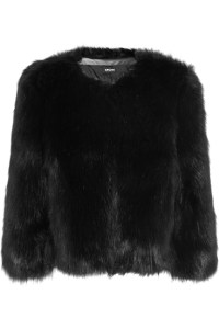Faux Fur Cropped DKNY Black