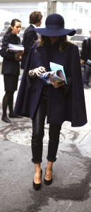 Dark blue cape coat