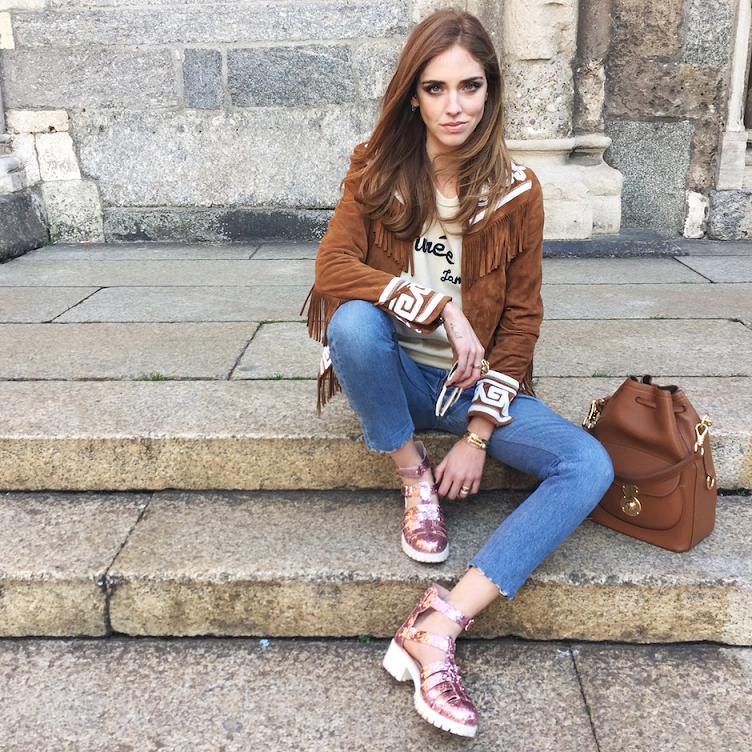 Chiara Ferragni wearing a fringed jacket