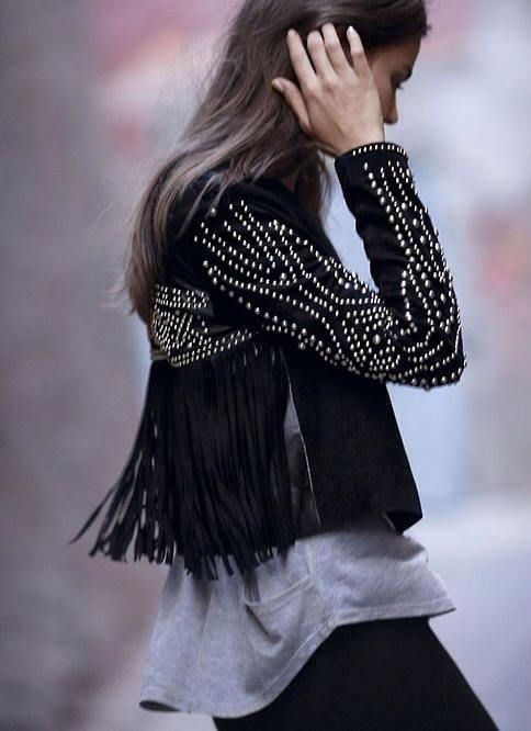 studded fringe jacket